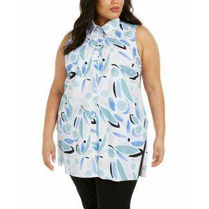 Alfani Womens Plus Size 2X Printed Button-Up Knit Tunic Top Sleeveless White $75